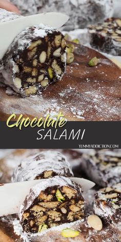Chocolate Salami is a mind-blowing no-bake dessert packed with cookies, pistachios, and almonds. Crunchy and sweet, it's really easy to make, it's guaranteed to become your favorite! Chocolate Pack, Easy Chocolate Desserts, No Bake Desserts, Chocolate Recipes, Easy Desserts, Dessert Recipes, Biscuit Dessert Recipe, Chocolate Salami Recipe, Chocolate Caramels