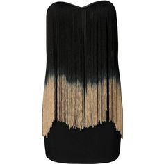 Rare Fringed Bandeau Dress ($34) ❤ liked on Polyvore featuring dresses, vestidos, robe, short dresses, fringe flapper dress, fringe cocktail dress, black and gold cocktail dress, fringe mini dress and flapper dress