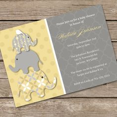 Stacked Yellow Elephants Baby Shower Invitation by LOlsonDesigns, $14.95. no party pkg available