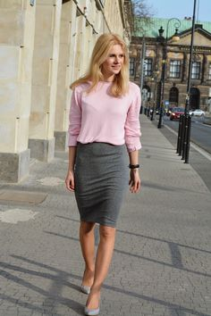 pink likes grey casual work outfit bmodish