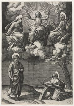 Marcantonio Raimondi - Christ, the Virgin, and St. John the Baptist with Saints Paul and Catherine (engraving after original by Raphael); Cleveland Museum of Art