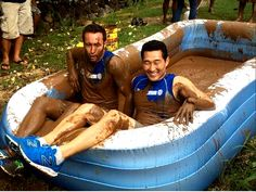 Alex O'Loughlin and Daniel Dae Kim behind the scenes during the filming of Hawaii Five-0.