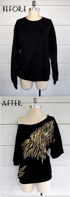 DIY Clothes DIY Refashion DIY Clothes Refashion: DIY Zebra Off the Shoulder Sweatshirt #diy #clothes #refashion