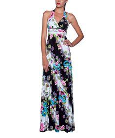 Look at this #zulilyfind! Black & Blue Floral Halter Maxi Dress - Women by Elfe #zulilyfinds