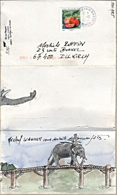 ¤ Mail art with a nice big elephant.                                                                                                                                                      Plus