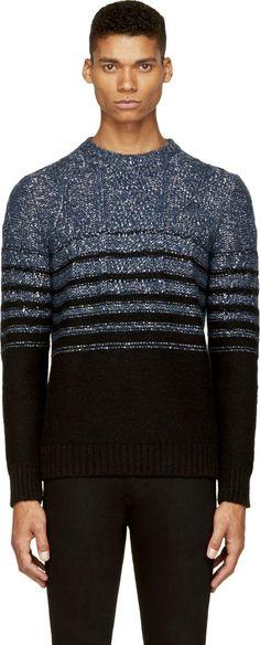Costume N Costume: Blue & Silver Lurex Striped Sweater | SSENSE
