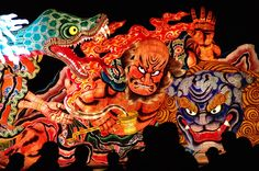 Aomori Nebuta Matsuri Festival is one of the 3 biggest festivals in Tohoku area, and a National  Intangible Folk Cultural Assets. Nebuta, a huge papier-mache with effigies of men, animals or birds, lighted from the inside, is placed on each carriage. About 20 carriages are pulled by people in colorful costumes on the main streets of the city from Aug. 2 to 6. On the 7th, the 6 most-highly-evaluated nebuta are placed on the boats and set afloat on the sea, while a fireworks burst over Aomori…