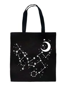 Rat Baby - Constellation Stars & Moon Alternative Gothic Occult Astrology Tote Bag #infectiousthreads #goth #gothic #totebag #purse #ratbaby #constellation #stars #moon