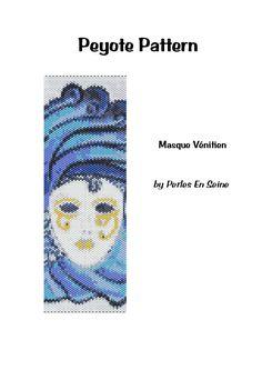 Peyote pattern blue Venetian mask cuff bracelet by PerlesEnSeine