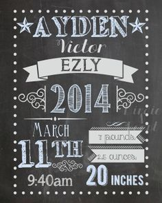 Chalkboard Birth Announcement Sign by birdieandroost on Etsy, $15.00