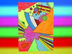 Original fluorescent ACEO of abstract 2D by ImaginationPoint, $17.50