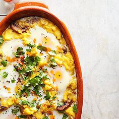 Polenta sausage breakfast casserole--would be easy to lighten up with egg beaters, turkey sausage, less cheese