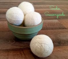 How to make DIY thrifted yarn dryer balls - According to this DIY pro, this project cost her her very little up front and saved her A TON of money in the long run.