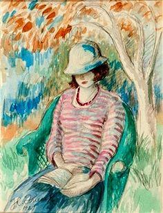 Frieseke, Frederick Carl (1874-1939) Reading in the garden, 1921
