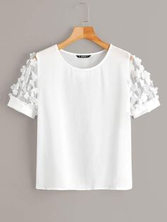 To find out about the Solid Appliques Mesh Sleeve Top at SHEIN, part of our latest Blouses ready to shop online today! Fashion News, Fashion Outfits, Summer Outfits, Cute Outfits, White Casual, Summer Shirts, Plus Size Blouses, Lingerie Sleepwear, Diy Clothes