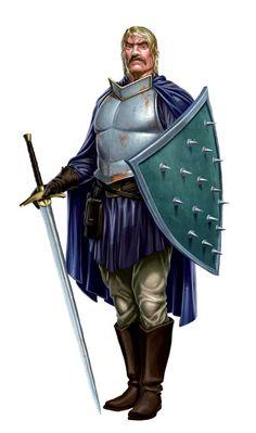 m Cleric Med Armor Shield Cloak 2 Handed Sword midlvl RPG human NPC