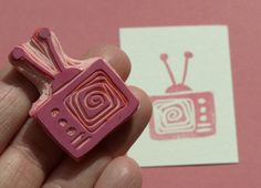 Retro Television Hand Carved Rubber Stamp