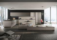 Snaidero LOOK kitchen design with titanium matte lacquered gray and sand walnut melamine panel cabinet doors. Antique brown satin granite countertop. #SnaideroUSA   Michele Marcon Design