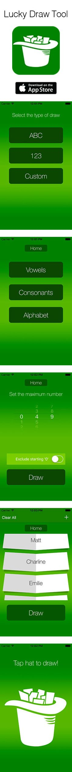 FREE app for iOS9 https://itunes.apple.com/en/app/lucky-draw-tool-draw-numbers/id1063332030?l=en&mt=8
