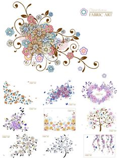 Set of 10 vector vivid decorative flourish elements with floral swirls, ornate flowers and frames for your cards, banners, brochures. Clip Art, Free Vector Graphics, Vector Vector, Wedding Frames, Diy Flowers, Watercolor Flowers, Printable Art, Printables, Art Images