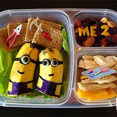 for the kiddies school lunch boxes cut a banana in half and draw them as minions <3 (my one day kids will love me)