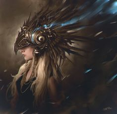 Perhaps a foreign realms griffin riders helm? #BirthRightTrilogy ArtStation - eagle head, Soufiane Idrassi