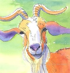 Of all the beasts in the animal kingdom there's just something especially cool about the goat.    Goat Portrait 5x7 print by eringopaint on Etsy, $17.00