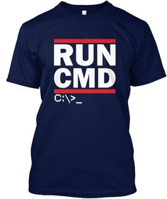 Run Cmd C:>  Navy T-Shirt Front