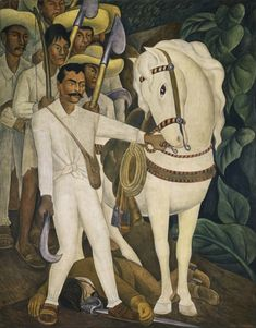 """Diego Rivera (1886-1957), 1931, Agrarian Leader Zapata, Fresco, 238.1 x 188 cm, The Museum of Modern Art, NY. It depicts the Mexican revolutionary Emiliano Zapata (1879-1919) as he holds the reins of a horse among a group of campesinos (peasants). In 1931 Diego Rivera became the second artist ever to hold a solo exhibition at the MoMA, following Henri Matisse's solo exhibition earlier that year. Rivera's exhibition was described as a """"media event"""" and broke all museum attendance records."""