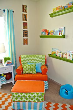 Rain gutter Book shelves and Reupholstered Rocker Glider This room was featured on Project Nursery's facebook page and selected as Favorite of the week.http://projectnursery.com/projects/kasens-nursery/