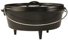 Lodge L12CO3 Cast Iron Camp Dutch Oven, 6 quart Lodge