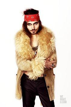 GYPSY PUNK // PHOTOSHOOT // WEMAKEU.COM // http://wemakeu.com/2013/02/21/gypsy-punk-photoshoot/  | #gypsy #punk #beige #white #black #red #blue #bandana #fur #jacket #pants #sneakers #johnny #depp #martens #cross