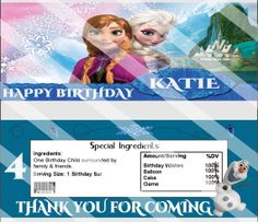 Adorable Disney Frozen Birthday Party Hershey by KrittsKreations, $5.00