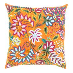 A Peruvian textile served as the inspiration for this splashy linen pillow. Featuring hand-embroidery in soft acrylic with a cotton back. Perfect for bright or eclectic decorating styles. Shell: 100%