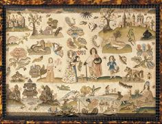 Needlework picture probably 17th century finished circa 1910