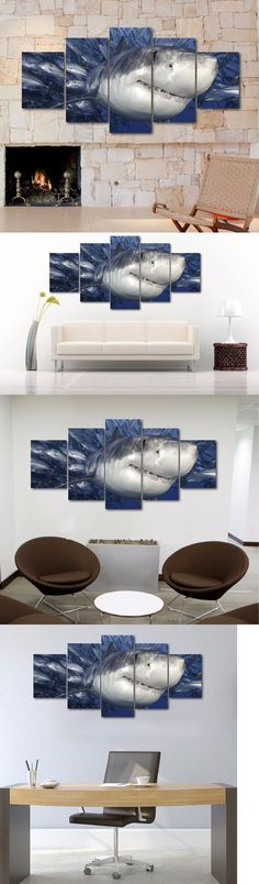 Posters and Prints 41511: Large Ocean Sea Shark Catching Fish Canvas Print Art Home Decor Wall -> BUY IT NOW ONLY: $69.99 on eBay!