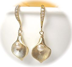 Gold Calla Lily Earrings  Fresh water Pearls by QueenMeJewelryLLC