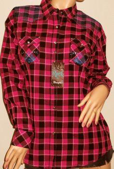 Wrangler Rock 47 ~ Western Pink Black Plaid Long Sleeve Shirt ~ Brand New ~ Checkered Cowgirl