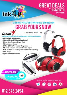 Genius Wireless Bluetooth Stereo Headset with Built in Microphone Printer Cartridge, Headset, Bluetooth, The Unit, Headphones, Headpieces, Hockey Helmet