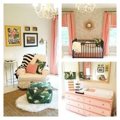 Tropical Themed Pink, Green, Palm Trees, and Gold Nursery Idea for Girl