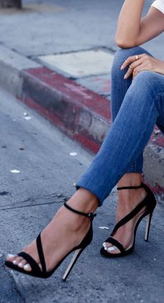 Strappy shoes.