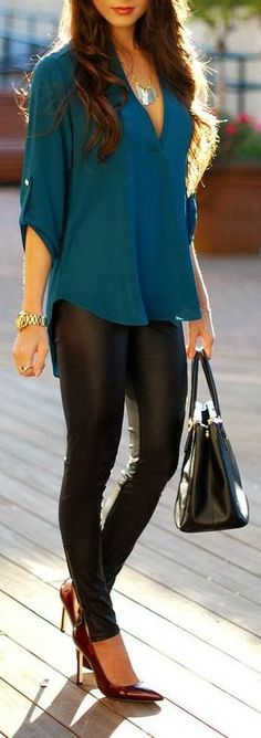 Everyday wear/Night out: Teal coloring, pleather leggings.