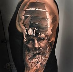 51 cool sleeve tattoo designs for your arm 29 - Part To Remember Upper Half Sleeve Tattoos, Upper Back Tattoos, Best Sleeve Tattoos, Sleeve Tattoos For Women, Tattoo Sleeve Designs, Silhouette Tattoos, Poseidon Tattoo, Rose Tattoos For Women, Cool Sleeves