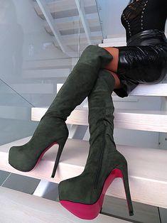 Damen Overknee Stiefel Schuhe luxus High Heels 2795 Schwarz 39