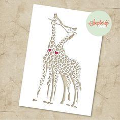 DIY Papercut Template - Love Giraffes, Personal Use