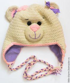 """Купить Шапочка """"Мишка"""" - разноцветный, шапочка крючком, шапочка для девочки, шапочка детская, теплая шапка"""