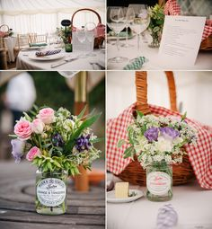 Tiptree jars full of wild flowers and spray roses