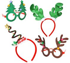 f88e777e478f3 JOYIN Toy Christmas   Holiday Party 4 Pack with Two Fancy Headband and Two  Beautiful Party Glasses-Funny Party Hats-Fit All - Toys