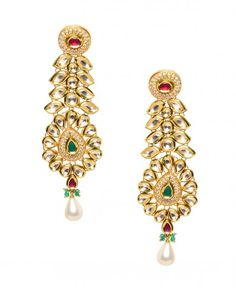 Kundan Floral Earrings with Pearl Drop