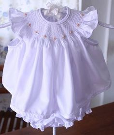 Baby Bishop~~ 'Snow Flakes' design from Australian Smocking & Embroidery magazine, peach rose buds.